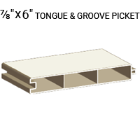 "7/8"" x 6"" Tongue and Groove Picket"
